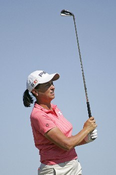SPRINGFIELD, IL - SEPTEMBER 1: Sherri Steinhauer hits her tee shot on the 17th hole during the third round of the State Farm Classic at Panther Creek Country Club on September 1, 2007 in Springfield, Illinois. (Photo by Hunter Martin/Getty Images)