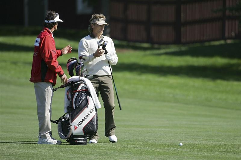 TIMONIUM, MD - OCTOBER 01:  Bernhard Langer of Germany prepares to play a shot during the first round of the Constellation Energy Senior Players Championship at Baltimore Country Club/Five Farms (East Course) held on October 1, 2009 in Timonium, Maryland  (Photo by Michael Cohen/Getty Images)