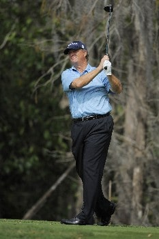 NAPLES, FL - FEBRUARY 17: Peter Jacobsen tees off on the third hole during the final round of the ACE Group Classic at Quail West February 17, 2008 in Naples, Florida. (Photo by Scott A. Miller/Getty Images)