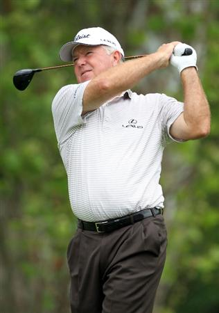 LOUISVILLE, KY - MAY 26:  Mark O'Meara hits his tee shot on the par 4 6th hole during the first round of the Senior PGA Championship presented by KitchenAid at Valhalla Golf Club on May 26, 2011 in Louisville, Kentucky.  (Photo by Andy Lyons/Getty Images)