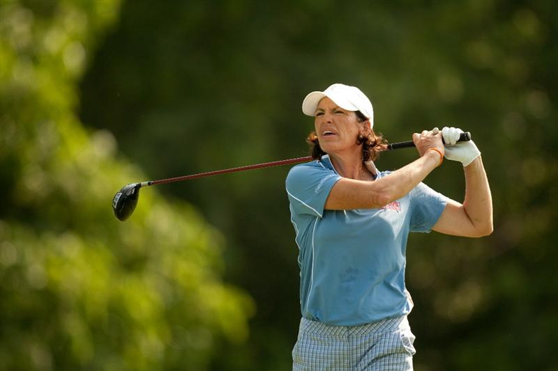 SPRINGFIELD, IL - JUNE 11: Juli Inkster follows through on a tee shot during the second round of the LPGA State Farm Classic at Panther Creek Country Club on June 11, 2010 in Springfield, Illinois. (Photo by Darren Carroll/Getty Images)