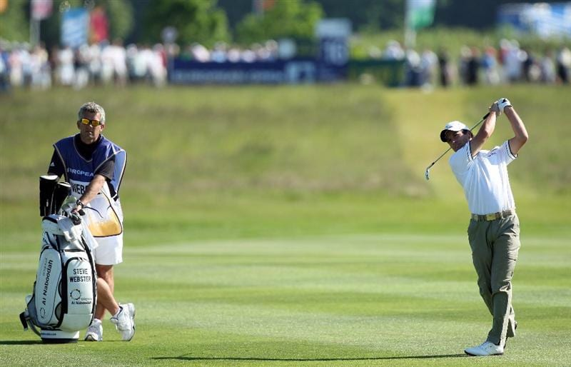 ASH, UNITED KINGDOM - MAY 31:  Steve Webster of England hits his second shot at the 16th hole during the final round of the 2009 European Open at the London Golf Club on May 31, 2009 in Ash, England.  (Photo by David Cannon/Getty Images)