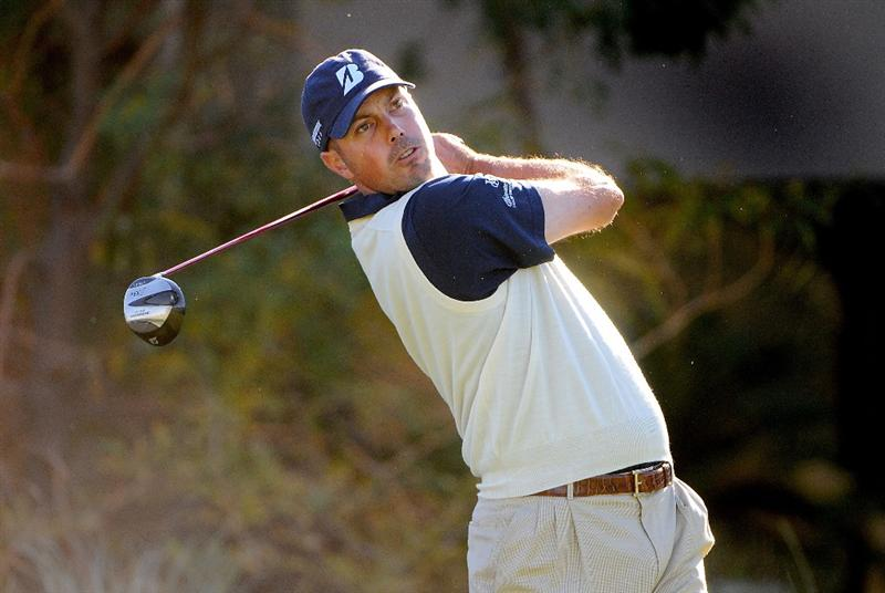 LAS VEGAS - OCTOBER 17:  Matt Kucher hits off the 4th tee during the second round of the Justin Timberlake Shriners Hospitals for Children Open held at the TPC Summerlin on Friday, October 17, 2008 in Las Vegas, Nevada. (Photo by Marc Feldman/Getty Images)
