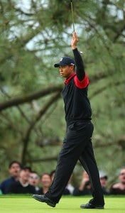 Tiger Woods reacts to a birdie putt on 11th green during the final round of the Buick Invitational on January 27, 2008 at the Torrey Pines Golf Course in  La Jolla, California.  Woods won by a 8 stroke lead with a 19 under par for the tournament. PGA TOUR - 2008 Buick Invitational - Final RoundPhoto by Donald Miralle/Getty Images
