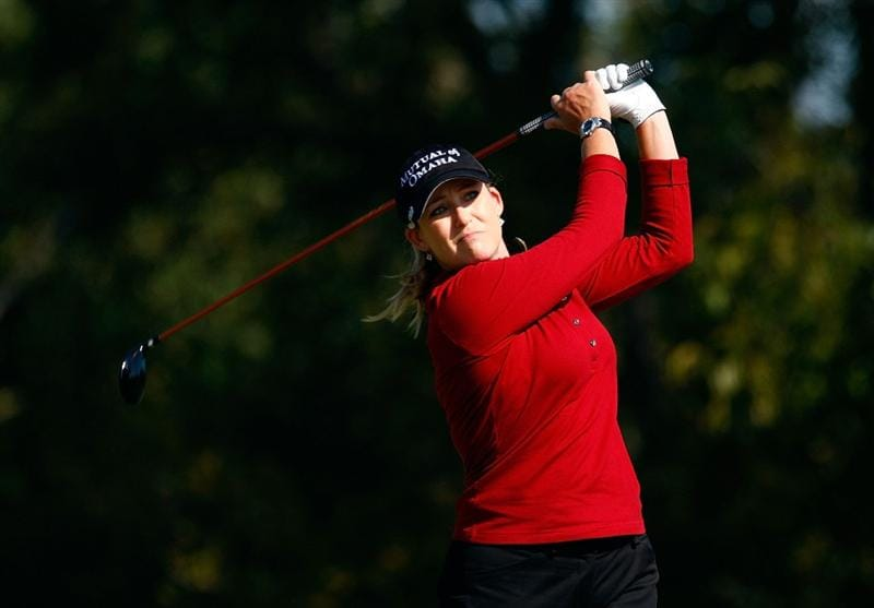 RICHMOND, TX - NOVEMBER 23:  Cristie Kerr hits her tee shot on the eighth hole during the final round of the LPGA Tour Championship presented by Rolex at the Houstonian Golf and Country Club on November 23, 2009 in Richmond, Texas.  (Photo by Scott Halleran/Getty Images)