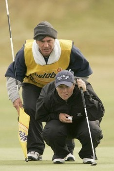 Karen Stupples reads a putt during the first round of the 2005 Weetabix Women's British Open at the Royal Birkdale Golf Club in Southport, Great Britain on July 28, 2005.Photo by Pete Fontaine/WireImage.com