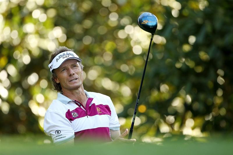 AUGUSTA, GA - APRIL 06:  Bernhard Langer of Germany watches a shot during a practice round prior to the 2010 Masters Tournament at Augusta National Golf Club on April 6, 2010 in Augusta, Georgia.  (Photo by Andrew Redington/Getty Images)