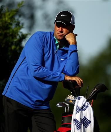 CHARLOTTE, NC - APRIL 29:  Stewart Cink waits to tee off at the 13th during the first round of the Quail Hollow Championship at Quail Hollow Country Club on April 29, 2010 in Charlotte, North Carolina.  (Photo by Richard Heathcote/Getty Images)