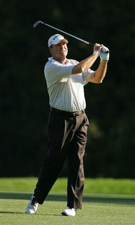 TIMONIUM, MD - OCTOBER 11:  D.A. Weibring plays his second shot on the 13th hole during the third round of the Constellation Energy Senior Players Championship at Baltimore Country Club East Course held on October 11, 2008 in Timonium, Maryland  (Photo by Michael Cohen/Getty Images)