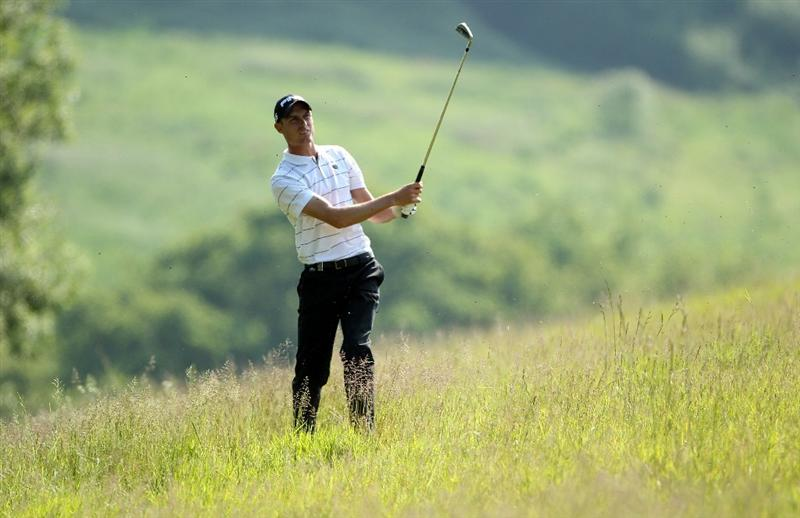 NEWPORT, WALES - JUNE 04:  Rhys Davies of Wales plays his second shot on the 16th hole during the second round of the Celtic Manor Wales Open on The Twenty Ten Course at The Celtic Manor Resort on June 4, 2010 in Newport, Wales.  (Photo by Andrew Redington/Getty Images)