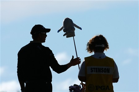 BLOOMFIELD HILLS, MI - AUGUST 10:  (L-R) Henrik Stenson of Sweden and caddie Fanny Suneson on the 12th hole during the completion of round three of the 90th PGA Championship at Oakland Hills Country Club on August 10, 2008 in Bloomfield Township, Michigan.  (Photo by Stuart Franklin/Getty Images)