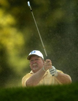 Craig Stadler hits out of the a bunker on the 18th fairway during the third round of the 2005 U.S. Senior Open Championship at NCR Country Club in Kettering, Ohio July 30, 2005.Photo by Steve Grayson/WireImage.com