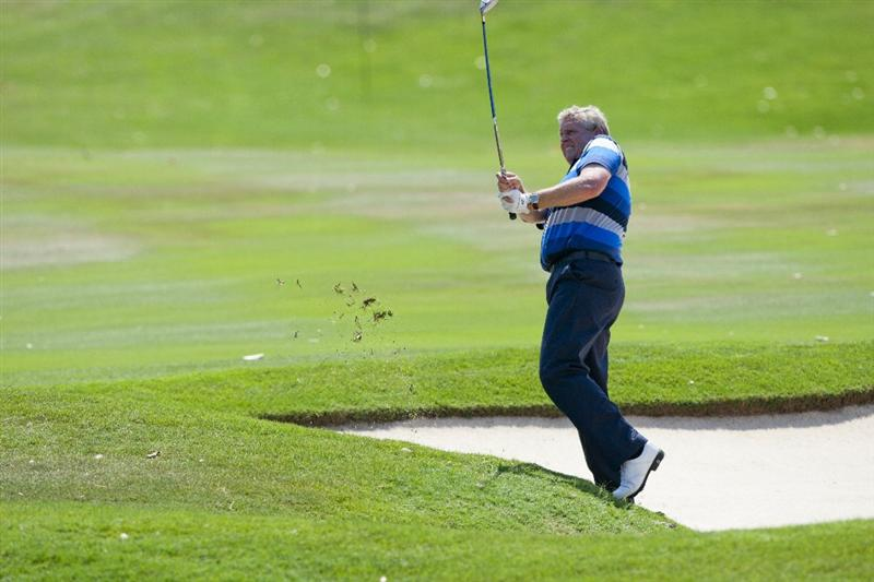 HUA HIN, THAILAND - JANUARY 09:  Colin Montgomerie of Scotland plays a shot on the 4th hole during day three of The Royal Trophy tournament at Black Mountain Golf Club on January 9, 2011 in Hua Hin, Thailand.  (Photo by Athit Perawongmetha/Getty Images)