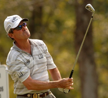 Mark McNulty hits from the 17th tee during during the first round of the Administaff Small Business Classic at Augusta Pines Golf Club, in Spring, Texas October 14, 2005.Photo by Steve Grayson/WireImage.com