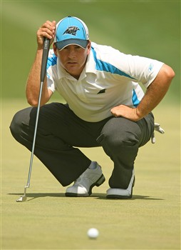CHARLOTTE, NC - MAY 04:  Ben Curtis lines up a putt on the 11th green during the final round of the Wachovia Championship at the Quail Hollow Country Club on May 4, 2008 in Charlotte, North Carolina.  (Photo by Scott Halleran/Getty Images)