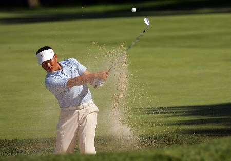 PARAMUS, NJ - AUGUST 21:  K.J. Choi of Korea plays a shot from the bunker during the first round of The Barclays at Ridgewood Country Club on August 21, 2008 in Paramus New Jersey.  (Photo by Sam Greenwood/Getty Images)