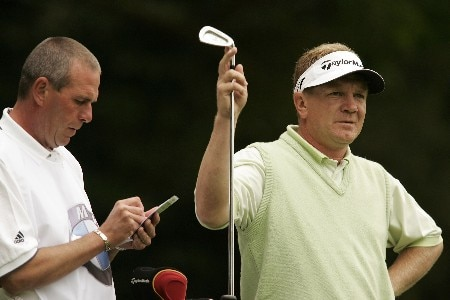 Paul Broadhurst selects a club during the final round of the 2005 BMW Championship at Wentworth Golf Club's West Course. May 29, 2005Photo by Pete Fontaine/WireImage.com