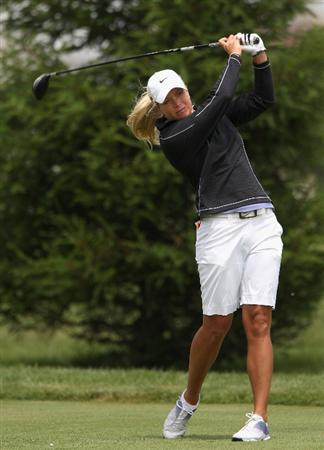 SPRINGFIELD, IL - JUNE 06:  Suzann Pettersen of Norway hits a tee shot on the third hole during the third round of the LPGA State Farm Classic golf tournament at Panther Creek Country Club on June 6, 2009 in Springfield, Illinois.  (Photo by Christian Petersen/Getty Images)