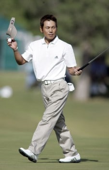 Hidemichi Tanaka waves to the gallery after the final round of the 2005 Michelin Championship at Las  Vegas Sunday, Oct. 16, 2005, at the The Players Club at Summerlin in Las Vegas, Nevada.Photo by Grant Halverson/WireImage.com