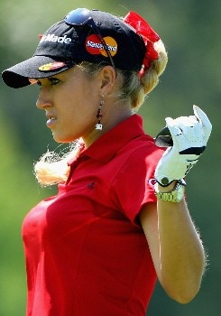 EVIAN, FRANCE - JULY 28:  Natalie Gulbis of USA stretches on the fifth hole during the third round of the Evian Masters on July 28, 2007 in Evian, France.  (Photo by Andrew Redington/Getty Images)
