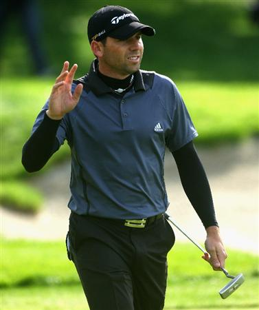 SOTOGRANDE, SPAIN - NOVEMBER 02:  Sergio Garcia of Spain waves to the crowd on the 16th hole during the third round of the Volvo Masters at Valderrama Golf Club on November 2, 2008 in Sotogrande, Spain.  (Photo by Andrew Redington/Getty Images)