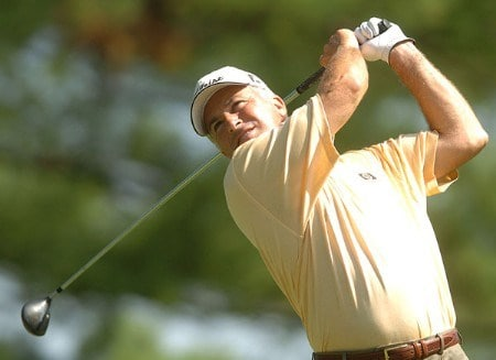 Ben Crenshaw hits from the fourth tee during the first round of the 2005 U.S. Senior Open Championship at NCR Country Club, July 28, 2005 in Kettering, Ohio.Photo by Steve Grayson/WireImage.com
