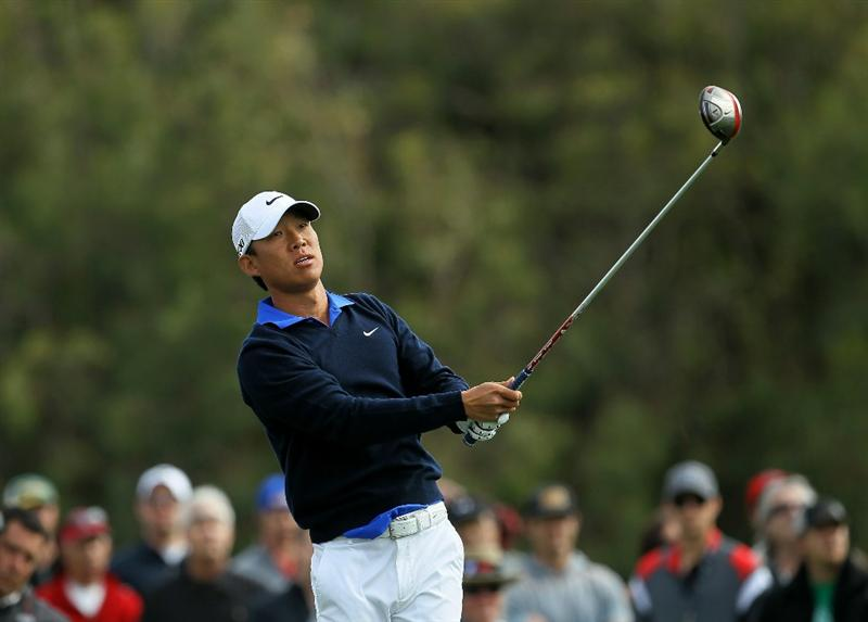 LA JOLLA, CA - JANUARY 30:  Anthony Kim hits his tee shot on the 12th hole during the final round of the Farmers Insurance Open at Torrey Pines South Course on January 30, 2011 in La Jolla, California.  (Photo by Stephen Dunn/Getty Images)