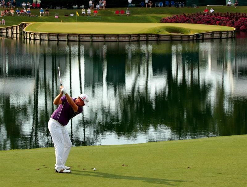 PONTE VEDRA BEACH, FL - MAY 14:  Peter Hanson of Sweden hits his tee shot on the 17th hole during the third round of THE PLAYERS Championship held at THE PLAYERS Stadium course at TPC Sawgrass on May 14, 2011 in Ponte Vedra Beach, Florida.  (Photo by Scott Halleran/Getty Images)