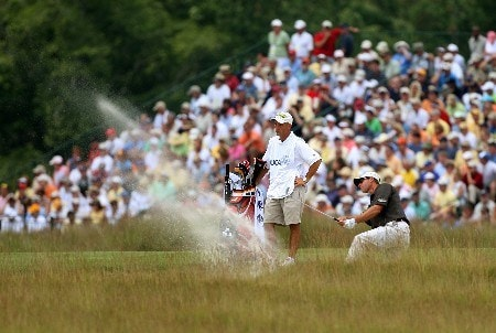 OAKMONT, PA - JUNE 16:  Jeff Brehaut hits a shot out of a bunker on the fourth hole during the third round of the 107th U.S. Open Championship at Oakmont Country Club on June 16, 2007 in Oakmont, Pennsylvania.  (Photo by David Cannon/Getty Images)