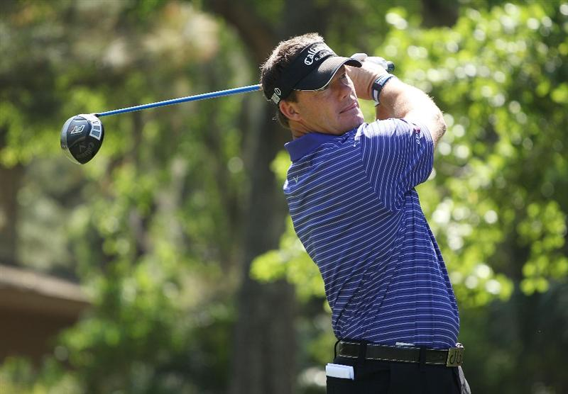 HILTON HEAD ISLAND, SC - APRIL 15:  Alex Cejka of Germany hits his tee shot on the eighth hole during the first round of the Verizon Heritage at the Harbour Town Golf Links on April 15, 2010 in Hilton Head lsland, South Carolina.  (Photo by Scott Halleran/Getty Images)