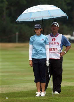 SUNNINGDALE, UNITED KINGDOM - AUGUST 02:  Juli Inkster of the USA prepares to play her second shot at the 1st hole during the third round of the 2008  Ricoh Women's British Open Championship held on the Old Course at Sunningdale Golf Club, on August 2, 2008 in Sunningdale, England.  (Photo by David Cannon/Getty Images)
