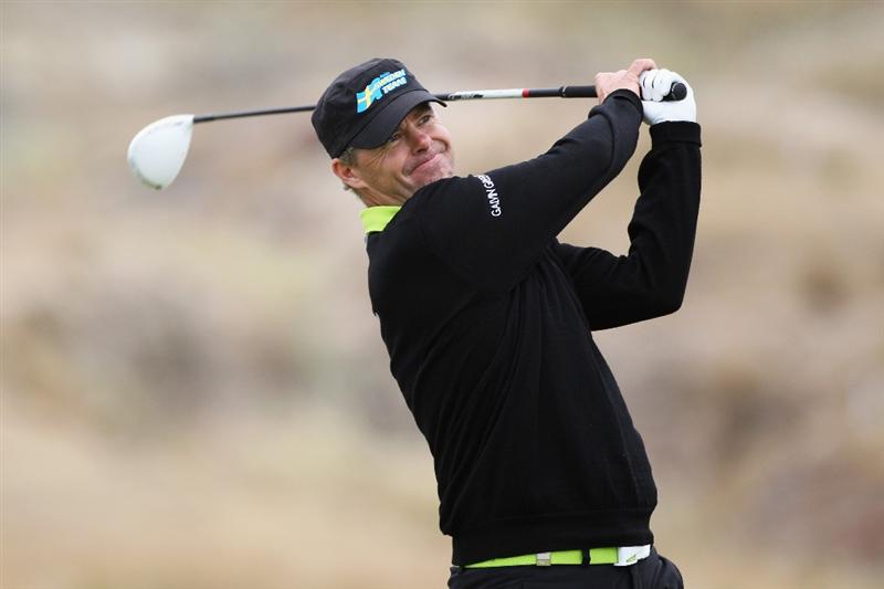 PORTO SANTO ISLAND, PORTUGAL - MAY 20:  Joakim Haeggman of Sweden hits his tee shot on the 4th hole during day two of the Madeira Islands Open on May 20, 2011 in Porto Santo Island, Portugal.  (Photo by Dean Mouhtaropoulos/Getty Images)
