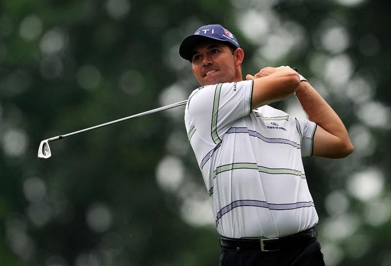 AKRON, OH - AUGUST 08:  Padraig Harrington of Ireland plays a shot on the 15th hole during the third round of the WGC-Bridgestone Invitational on the South Course at Firestone Country Club on August 8, 2009 in Akron, Ohio.  (Photo by Sam Greenwood/Getty Images)