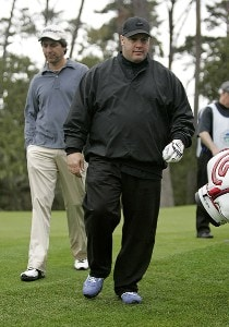 Kevin James (R) and playing partner Ray Romano (L) during the AT&T Pebble Beach Pro-Am at Spyglass Hill on Thursday, February 8 in Pebble Beach, California. Photo by Hunter Martin/WireImage.com