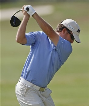 BROUSSARD, LA - MARCH 30: Kyle Thompson hits his drive on the 2nd hole during the final round of the 2008 Chitimacha Louisiana Open at the Le Triomphe Country Club on March 30, 2008 in Broussard, Louisiana. (Photo by Dave Martin/Getty Images)