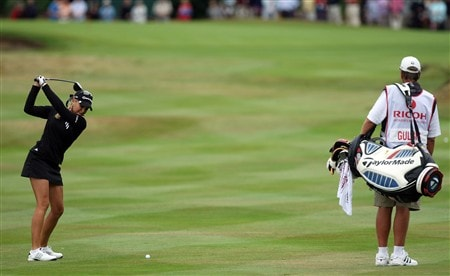 SUNNINGDALE, UNITED KINGDOM - AUGUST 03:  Natalie Gulbis of the USA hits her second shot at the 1st hole during the final round of the 2008  Ricoh Women's British Open Championship held on the Old Course at Sunningdale Golf Club, on August 3, 2008 in Sunningdale, England.  (Photo by David Cannon/Getty Images)