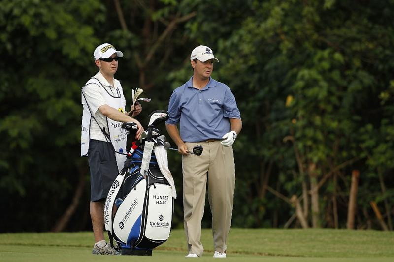 RIO GRANDE, PR - MARCH 10: Hunter Haas prepares to hit a shot during the first round of the Puerto Rico Open presented by seepuertorico.com at Trump International Golf Club on March 10, 2011 in Rio Grande, Puerto Rico.  (Photo by Michael Cohen/Getty Images)