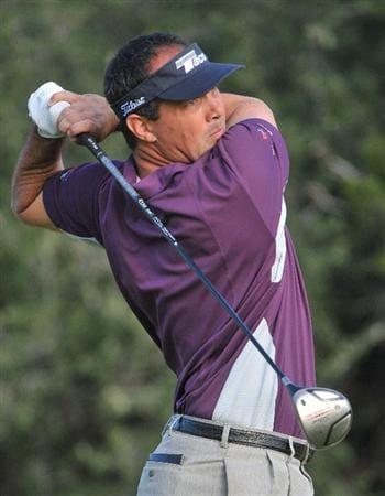 SAN ANTONIO,TX - OCTOBER 10: Brad Adamionis tees off the 5th hole during the second round of the Valero Texas Open  held at La Cantera Golf Club on October 10, 2008 in San Antonio, Texas  (Photo by Marc Feldman\Getty Images)