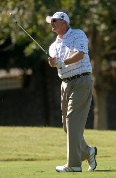 Don Pooley hits from the 13th fairway during the second round of the Champion's TOUR 2005 SBC Championship at Oak Hills Country Club in San Antonio, Texas October 22, 2005.Photo by Steve Grayson/WireImage.com