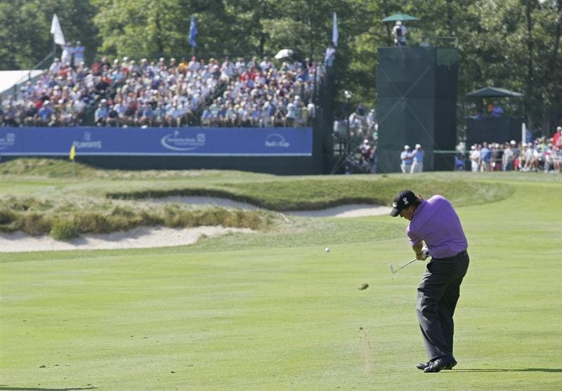 NORTON, MA - SEPTEMBER 04:  Phil Mickelson of the United States plays a shot from the fairway during the first round of the Deutsche Bank Championship at TPC Boston held on September 4, 2009 in Norton, Massachusetts.  (Photo by Michael Cohen/Getty Images)