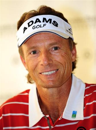 COLOGNE, GERMANY - SEPTEMBER 09:  Bernhard Langer of Germany during his press conference prior to the Mercedes-Benz Championship at The Gut Larchenhof Golf Club on September 9, 2009 in Pulheim, near Cologne, Germany.  (Photo by Stuart Franklin/Getty Images)