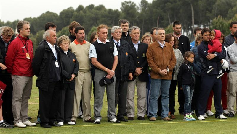 BARCELONA, SPAIN - MAY 07:  Jose Maria Olazabal of Spain, Miguel Angel Jimenez of Spain and variuos members of the European Tour during the minute silence held in memory of Seve Ballesteros  during the third round of the Open de Espana at the the Real Club de Golf El Prat on May 7 , 2011 in Barcelona, Spain.  (Photo by Ross Kinnaird/Getty Images)