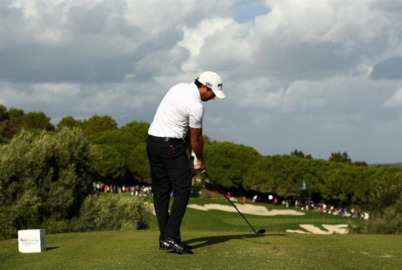 SOTOGRANDE, SPAIN - OCTOBER 31:  Gareth Maybin of Northern Ireland tee's off at the 15th during the final round of the Andalucia Valderrama Masters at Club de Golf Valderrama on October 31, 2010 in Sotogrande, Spain.  (Photo by Richard Heathcote/Getty Images)