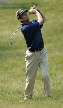Brad Faxon plays from the rough on the 12th hole during the fourth round of the Barclays Classic at Westchester CC in Rye, New York on June 25, 2005.Photo by Michael Cohen/WireImage.com