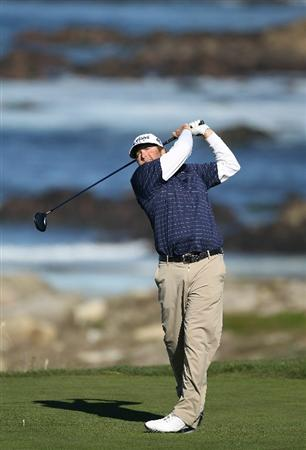PEBBLE BEACH, CA - FEBRUARY 12:  Steve Marino hits from the 13th tee at the AT&T Pebble Beach National Pro-Am- Round Three at the Monterey Peninsula country club on February 12, 2011 in Pebble Beach, California.  (Photo by Jed Jacobsohn/Getty Images)