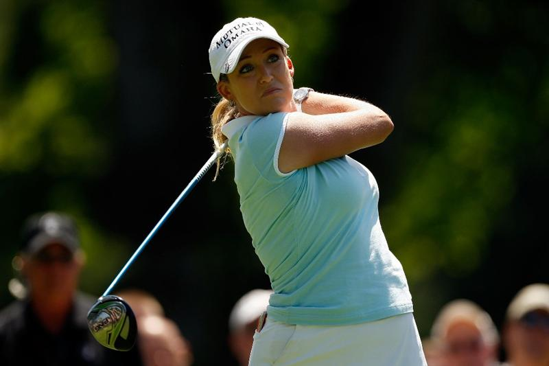 BETHLEHEM, PA - JULY 12:  Cristie Kerr tees off on the 5th hole during the final round of the 2009 U.S. Women's Open at Saucon Valley Country Club on July 12, 2009 in Bethlehem, Pennsylvania.  (Photo by Chris Graythen/Getty Images)