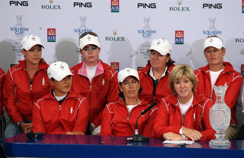 LYTHAM ST ANNES, ENGLAND - AUGUST 02:  USA Solheim Cup Team Captain Beth Daniel (R) poses with her Captain's picks Michelle Wie (L) and Juli Inkster at a Press Conference to announce the teams for the 2009 Solheim Cup following the final round of the 2009 Ricoh Women's British Open Championship held at Royal Lytham St Annes Golf Club, on August 2, 2009 in Lytham St Annes, England.  (Photo by David Cannon/Getty Images)