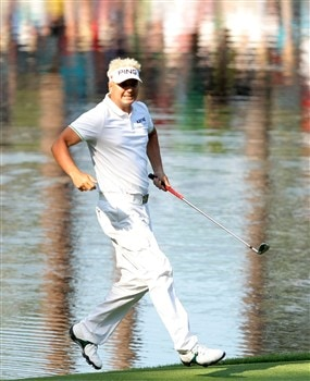 AUGUSTA, GA - APRIL 09:  Daniel Chopra of Sweden runs across the green during the Par 3 Contest prior to the start of the 2008 Masters Tournament at Augusta National Golf Club on April 9, 2008 in Augusta, Georgia.  (Photo by Harry How/Getty Images)