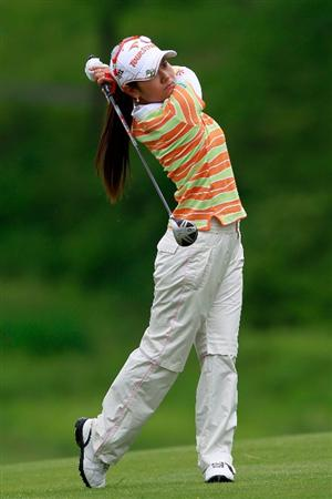 GLADSTONE, NJ - MAY 20:  Ai Miyazato of Japan hits her second shot on the second hole during round two of the Sybase Match Play Championship at Hamilton Farm Golf Club on May 20, 2011 in Gladstone, New Jersey.  (Photo by Chris Trotman/Getty Images)