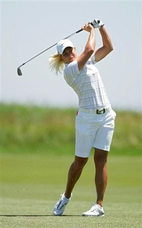 GALLOWAY, NJ - JUNE 18:  Suzann Pettersen of Norway hits a shot from the fairway during the first round of the ShopRite LPGA Classic held at Dolce Seaview Resort (Bay Course) on June 18, 2010 in Galloway, New Jersey.  (Photo by Michael Cohen/Getty Images)